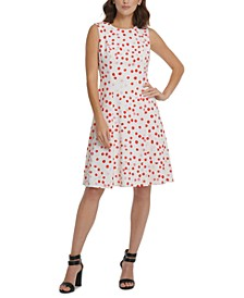Dot-Print Open-Back Fit & Flare Dress