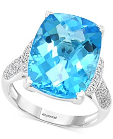 EFFY® Blue Topaz (11-7/8 ct. t.w.) & Diamond (1/4 ct. t.w.) Ring in 14k White Gold