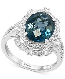 EFFY® London Blue Topaz (4-3/4 ct. t.w.) & Diamond (1/2 ct. t.w.) Ring in 14k White Gold