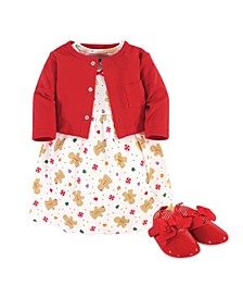 Baby Girls Sugar Spice Dress, Cardigan and Shoe Set, Pack of 3