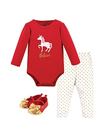 Baby Girls Christmas Unicorn Bodysuit, Pant and Shoe Set, Pack of 3