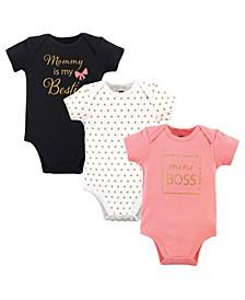 Baby Girls and Boys Mini Boss Bodysuits, Pack of 3