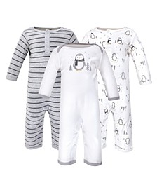 Baby Girls and Boys Penguin Coveralls, Pack of 3