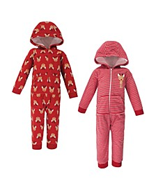 Baby Toddler Girls and Boys Reindeer Fleece Jumpsuits, Coveralls and Playsuits, Pack of 2