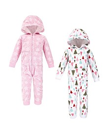 Toddler Girls Sparkle Trees Fleece Jumpsuits, Coveralls and Playsuits, Pack of 2
