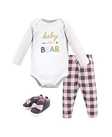 Baby Girls and Boys Bear Bodysuit, Pant and Shoe Set, Pack of 3