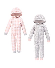 Toddler Girls Snowflake Fleece Coveralls and Playsuits Jumpsuits, Pack of 2