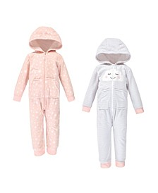 Baby Toddler Girls and Boys Cloud Fleece Coveralls and Playsuits Jumpsuits, Pack of 2