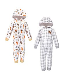 Baby Toddler Girls and Boys Woodland Fleece Coveralls and Playsuits Jumpsuits, Pack of 2