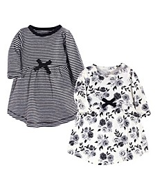 Baby Girls Floral Long-Sleeve Dresses, Pack of 2