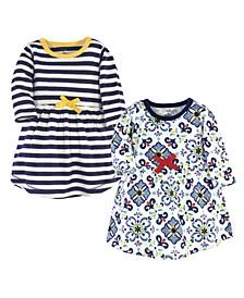 Toddler Girls Pottery Tile Long-Sleeve Dresses, Pack of 2