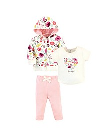 Toddler Girls and Boys Botanical Hoodie, Bodysuit or Tee Top and Pant, Pack of 3