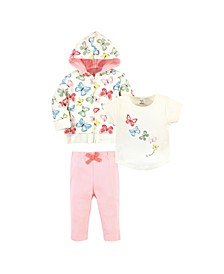 Toddler Girls and Boys Butterflies Hoodie, Bodysuit or Tee Top and Pant, Pack of 3