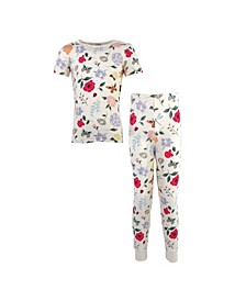 Big Girls and Boys Flutter Garden Tight-Fit Pajama Set, Pack of 2