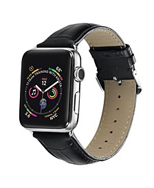 Men's and Women's Apple Black Leather Replacement Band 44mm