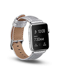 Posh Tech Men's and Women's Apple Silver-Tone Glitter Leather Replacement Band 44mm