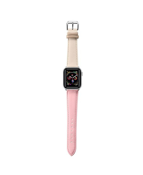 Posh Tech Men's and Women's Apple Pink and White Colored Leather Replacement Band 40mm