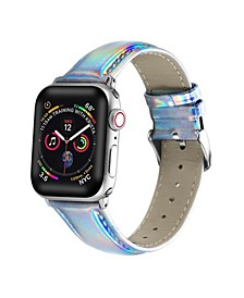Men's and Women's Apple Silver-Tone Iridescent Leather Replacement Band 44mm