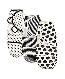 Baby Girls and Boys Heart Baby Organic Swaddle Wrap, Pack of 3