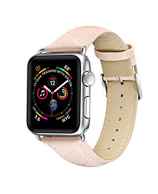 Posh Tech Men's and Women's Apple Pink Quilted Leather Replacement Band 44mm