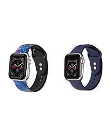 Men's and Women's Apple Galaxy Navy Silicone, Leather Replacement Band 44mm