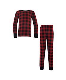 Big Girls and Boys Buffalo Plaid Tight-Fit Pajama Set, Pack of 2