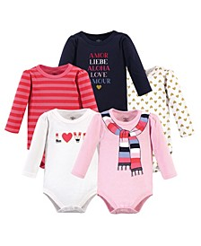 Baby Girls Cozy Scarf Bodysuits, Pack of 5