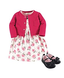 Baby Girls Rose Cardigan, Dress and Shoe Set, Pack of 3