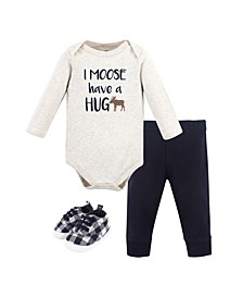 Baby Boys Moose Hug Bodysuit, Pant and Shoe Set, Pack of 3