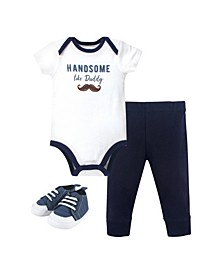 Baby Boys Handsome Like Daddy Bodysuit, Pant and Shoe Set, Pack of 3