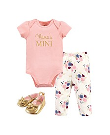 Baby Girls Mamas Mini Bodysuit, Pant and Shoe Set, Pack of 3