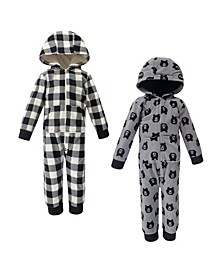 Toddler Girls and Boys Bear Yoga Sprout Hooded Fleece Jumpsuits, Pack of 2