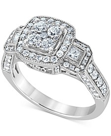 Diamond Triple Halo Cluster Engagement Ring (1-1/5 ct. t.w.) in 14k White Gold