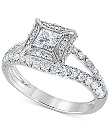 Diamond Princess Split Shank Engagement Ring (1-1/4 ct. t.w.) in 14k White Gold