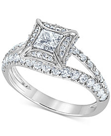 Diamond Princess Split Shank Engagement Ring (1-1/4 ct. t.w.) in 14k White Gold