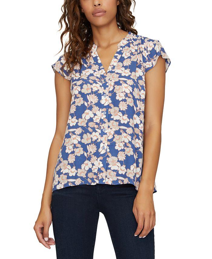 Sanctuary - Tiffany Floral-Print Cap-Sleeve Shirt