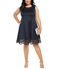Plus Size Lace-Trim Fit & Flare Dress