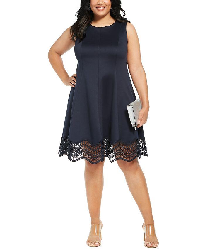 Jessica Howard - Plus Size Lace-Trim Fit & Flare Dress