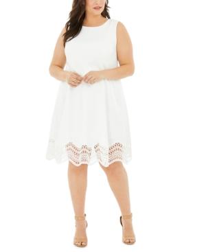 Plus Size Lace-Trim Fit & Flare Dress