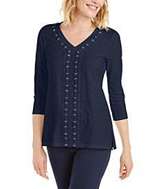 Crochet-Trimmed Laced Textured Top, Created for Macy's