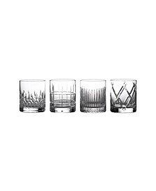 Short Stories Double Old Fashioned Glasses, Set of 4 Mixed (Aras, Cluin, Lismore & Olann)