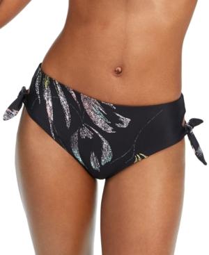 O'neill Monsoon Leaf Print Side Tie High Waist Bikini Bottoms In Black