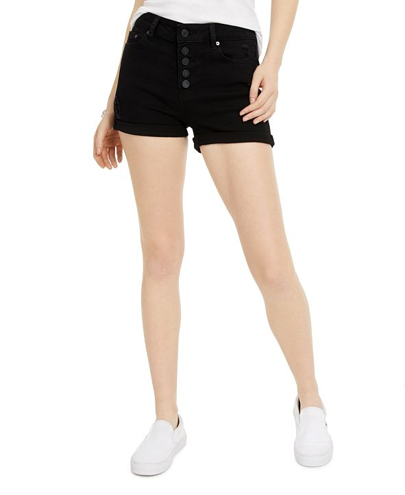 Indigo Rein High-Rise Roll-Cuff Jean Shorts