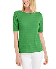 Cotton Texture-Striped Elbow-Sleeve Top, Created for Macy's