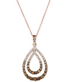 "Chocolate Diamond Ombré Double Teardrop 18"" Pendant Necklace (1-3/8 ct. t.w.) in 14k Rose Gold"