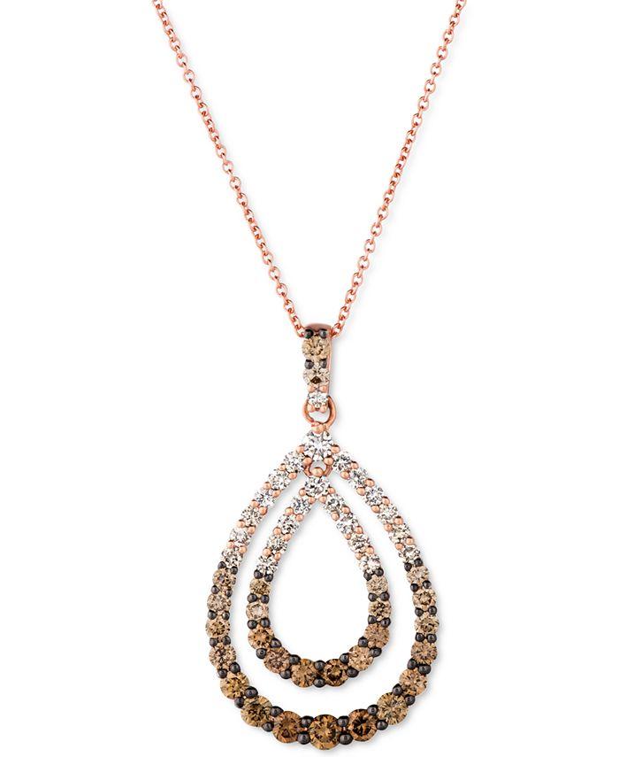 """Le Vian - Chocolate Diamond Ombré Double Teardrop 18"""" Pendant Necklace (1-3/8 ct. t.w.) in 14k Rose Gold"""