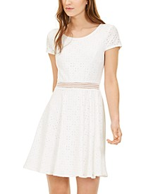 Juniors' Illusion-Waist A-Line Dress