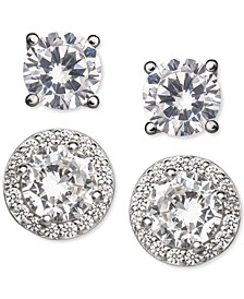 2-Pc. Set Cubic Zirconia Solitaire & Halo Stud Earrings in Sterling Silver, Created for Macy's