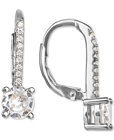 Cubic Zirconia Leverback Drop Earrings in Sterling Silver, Created for Macy's