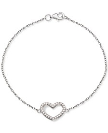 Cubic Zirconia Heart Link Bracelet in Sterling Silver, Created for Macy's